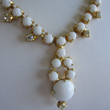 Vintage White Milk Glass Rhinestone Crystal Mad Men Mid Century Style Bridal Necklace, Something Old for Wedding