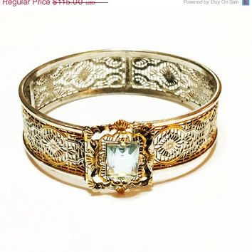 ON SALE Vintage Art Deco  Filigree Bangle, Signed E.L. Weed, Light Blue Stone, Silver with Gold Edges, Wedding Jewelry, 1930s