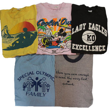 5 Vintage T-shirts Size Medium Distressed 80's & 90's Shirts