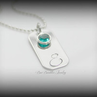 Hand stamped personalized birthstone initial necklace - Initial Jewelry - Initial Necklace - Hand Stamped Stainless Steel