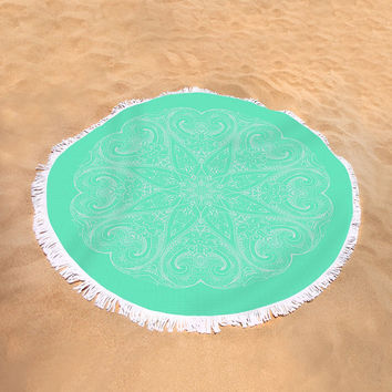 Round Beach Towel Mandala Boho Bohemian Large Beach Blanket Mint Green White India Indian Pattern