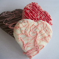 Brownies, Valentines brownie hearts 3 inch Brownies Coated with Chocolate, Pink, White, Chocolate 12 Hand Made Hearts