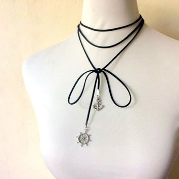 nautical long multi-strand wrap choker necklace or bracelet, ship wheel & anchor charms in faux suede cord