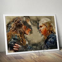 Clarke and Lexa Art Poster, The 100 Watercolor Art poster print, Clarke Griffin and Commander Heda Art Poster, Watercolor Print, the 100
