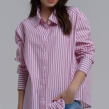 Fuchsia striped shirt