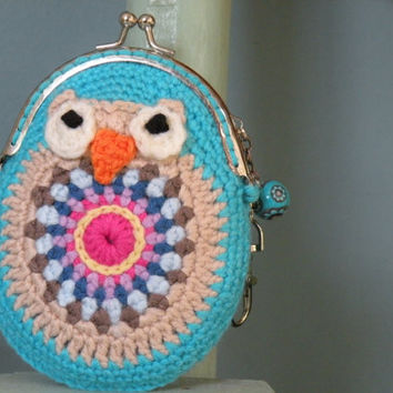 Framed coin purse crochet kiss lock purse granny squares owl