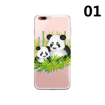 2017 Cute Cartoon Animal Panda back cover For Apple Iphone 7 case Lovely pandas family bamboo painted for iphone 7 Plus TPU cases -0328
