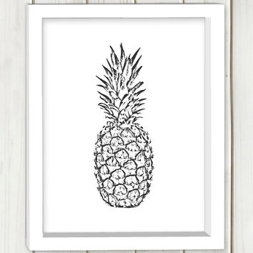 Pineapple printable art,DIGITAL FILE, wall art, home decor,art print,instant download,black and white print