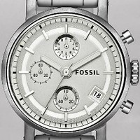 Fossil Boyfriend Chronograph White Dial Ladies Watch ES2785