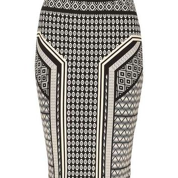 *Izabel London Black Printed A-Line Skirt - Skirts - Clothing