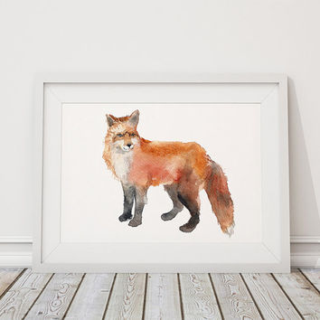 Nursery decor Animal art Watercolor fox print ACW42