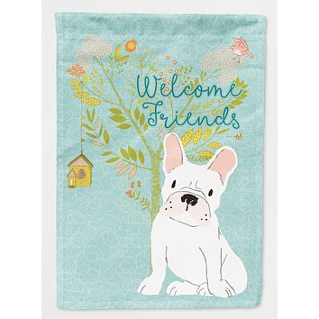Welcome Friends White French Bulldog Flag Garden Size BB7635GF