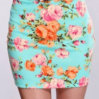 Seafoam Floral Fitted Skirt