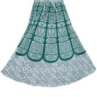 Womans Maxi Skirt Green White Printed Indian Cotton Long Skirt, Gift for Her: Amazon.com: Clothing
