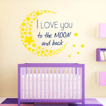 I Love You To The Moon And Back Wall Decal Quote Moon Stars Vinyl Sticker Adventure Sweet Dreams Bedroom Design Boy Girl Nursery Decor KY154