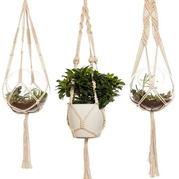 Set of 3 Boho Macrame Plant Hangers