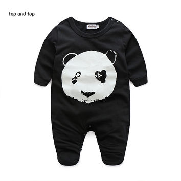 Autumn baby clothing baby boy clothes panda pattern baby Romper baby girl clothes bebe clothing set