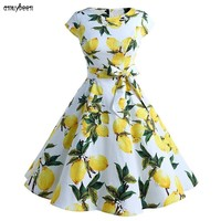 Dresses Print Floral Bow Summer Women Dress 2018 Sundress Plus Size Cotton Hepburn Tunic Lemon Cherry Vintage Party Summer Dress