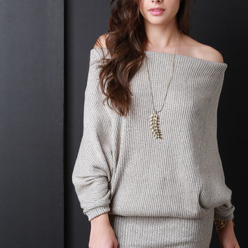 Slouchy Ribbed Knit Off Shoulder Dress