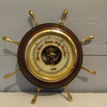 Vintage, Jason, Barometer, Boat Wheel, MCM, Weather Instrument, Nautical Decor, For Him, Man Cave, Office, Den, Decor, RhymeswithDaughter
