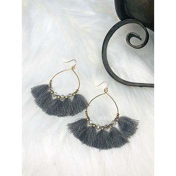 Because Of You Tassel Earrings: Charcoal