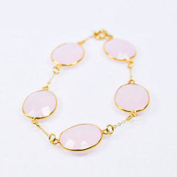 Light Pink Chalcedony Gemstone Gold Filled Bracelet - Gemstone Bracelet, Gold, Gemstone Jewelry, Stackable Jewelry, Jewelry, Bracelet