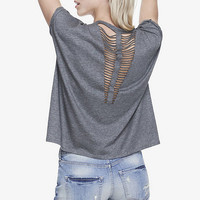 HEATHER GRAY ONE ELEVEN SLASH BACK V-NECK TEE from EXPRESS