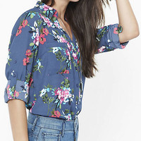 Floral Cluster Print Portofino Shirt from EXPRESS