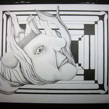 BEHEADED: Original Art - Pen Ink illustration, pen and ink art, pen drawing, black and white surreal abstract 18x24