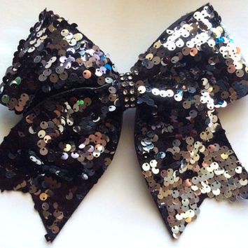 The ALEXIS - Black & Silver Reversible Sequin Cheer Bow