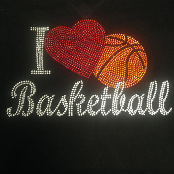 I Love Basketball Rhinestone Tank Top/Shirts/Sweatshirts