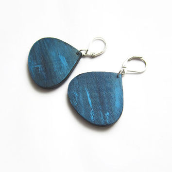 Wooden earrings, blue, earrings wood, ocean, hand painted