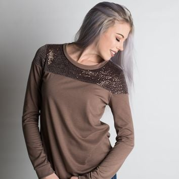 Mocha Sequin Long Sleeve Top