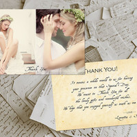 "50 Wedding Thank You Card - Nimes Vintage Photo Personalized 4""x6"""