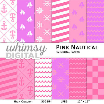 Pink Nautical Digital Paper with Ships, Anchors, Wheels, Waves, Stripes, and Checkers in shades of Pink, Purple, and White
