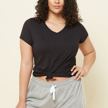 Plus Black Super Soft V Neck Tee
