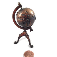 Vintage Spinning Globe, Miniature Dollhouse Furniture, World Map, Item #28 Durham Industries