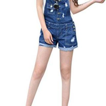 Women's Blue Cowboy Denim Shorts Lingswallow Vintage Stretch Overalls Ripped