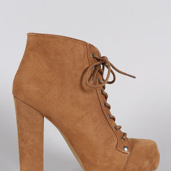 Qupid Suede Lace Up Heeled Platform Booties