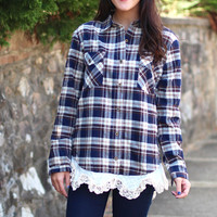 Trimmed in Lace Plaid Flannel {Navy Mix}