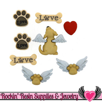 Jesse James Buttons 8 pc My Beloved Dog Buttons