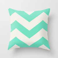 Mint Chevron Throw Pillow by Georgiana Paraschiv