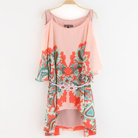 Lucky Chiffon Strapless Print Irregular One Piece Dress [4917841860]