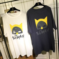 Batman Graphic Print Loose Mini Shirt Dress