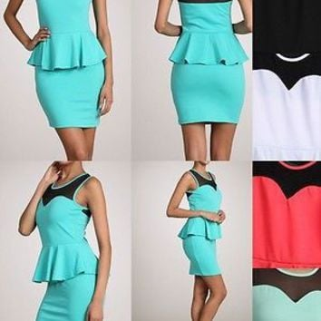 Solid Color Sleeveless PEPLUM Round Neck Mesh Skater Peplum Mini Dress