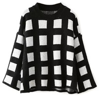 Monochrome Flare Sleeve Square Patterned Sweater