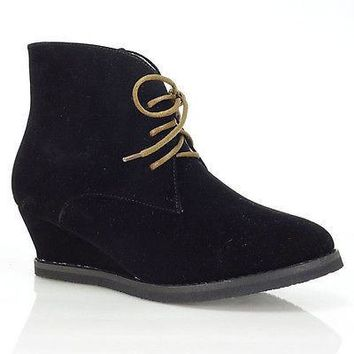 Valencia01 Black By Bumper, Lace Up Ankle Bootie Hidden Wedge Western Cowboy Wing Tip