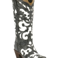 Corral® Ladies Antiqued Black w/ White Inlay Snip Toe Western Boot