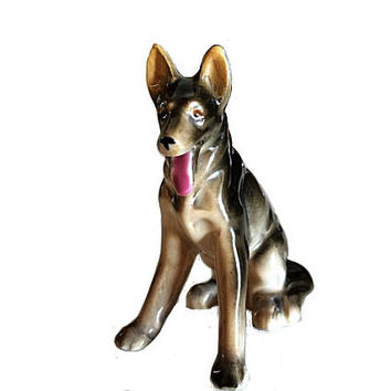 German Shepard, Shepard Figurine, Occupied Japan, Japan Figure, Dog Figurine, Porcelain Do, Retro Dog Figurine, Vintage Dog, Retro Dog