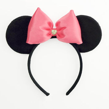 Minnie Mouse Ears Pink Mickey Ears Mouse Ears Halloween Costume Pink Minnie Ears Mickey Ears Headband Minnie Mouse Bow Minnie Mouse Outfit
